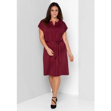 Große Größen: Jerseykleid mit Spitzenborten, bordeaux, Gr.44-58