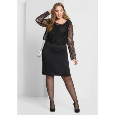 Große Größen: Kleid mit Spitzenoberteil, schwarz, Gr.40-58