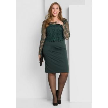 Große Größen: Kleid mit Spitzenoberteil, tiefgrün, Gr.40-58