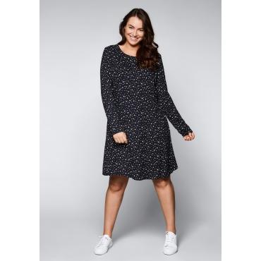 Große Größen: Kleid mit Sternen-Alloverdruck, schwarz bedruckt, Gr.44-58