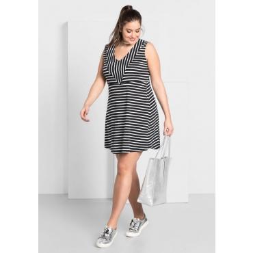 Große Größen: Kleid mit Streifen, schwarz-weiß, Gr.44-58