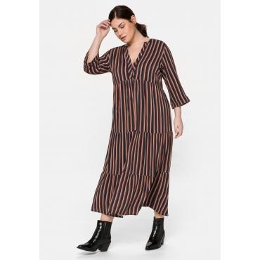 Kleid mit Streifen und 3/4-Ärmeln, in A-Linie, nachtblau gestreift, Gr.40-58