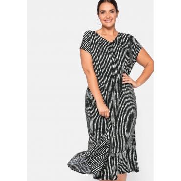Kleid mit Streifendruck und Taillen-Gummizug, schwarz-weiß, Gr.44-58