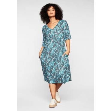 Kleid mit tiefem V-Ausschnitt und Alloverdruck, petrol bedruckt, Gr.44-58