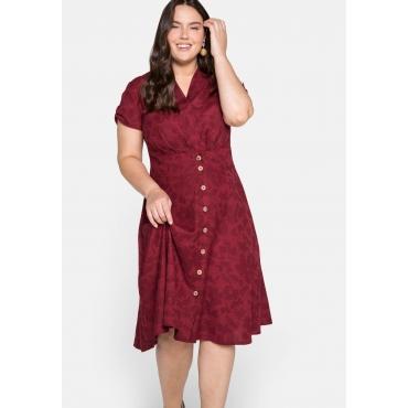 Kleid mit tonigem Blumendruck, in A-Linie, rot, Gr.44-58