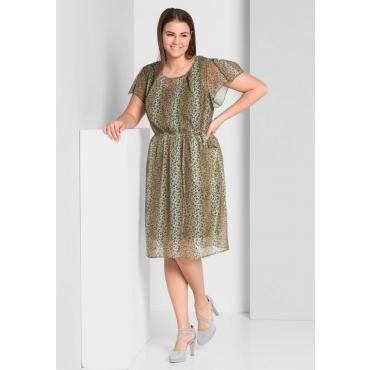 Große Größen: Kleid mit transparentem Oberkleid, cognac bedruckt, Gr.44-58