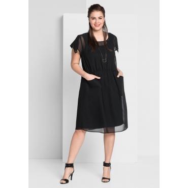 Große Größen: Kleid mit transparentem Oberkleid, schwarz, Gr.44-58