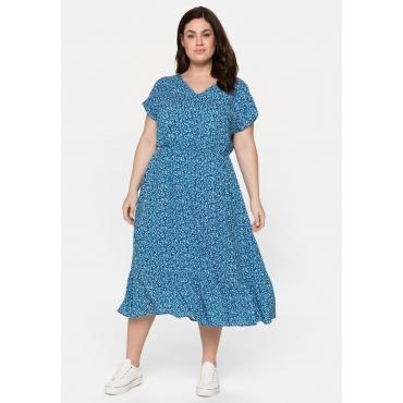 Kleid mit V-Ausschnitt und Blumendruck, lagune-weiß, Gr.40-58