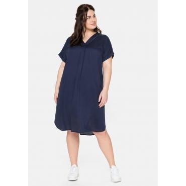 Kleid mit V-Ausschnitt und Lochstickerei, marine, Gr.40-58
