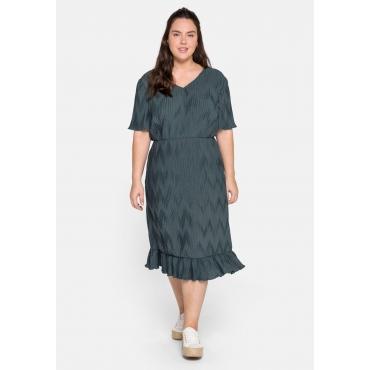 Kleid mit Volant und plissiertem Zick-Zack-Muster, dunkelgrau, Gr.44-58
