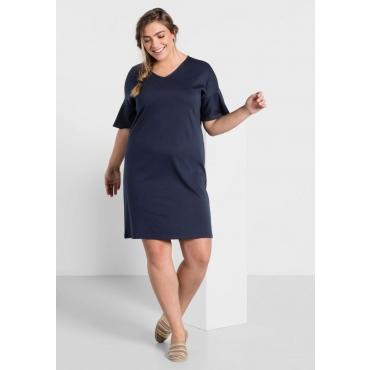 Große Größen: Kleid in leichter Oversize-Form mit Volantärmeln, marine, Gr.44-58