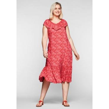 Kleid mit Volants an Ausschnitt und Saum, in Midilänge, koralle bedruckt, Gr.44-58