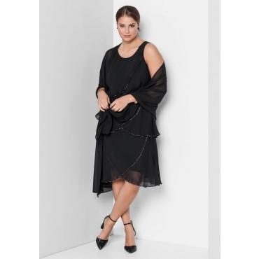 Große Größen: Kleid mit Volants, schwarz, Gr.40-58