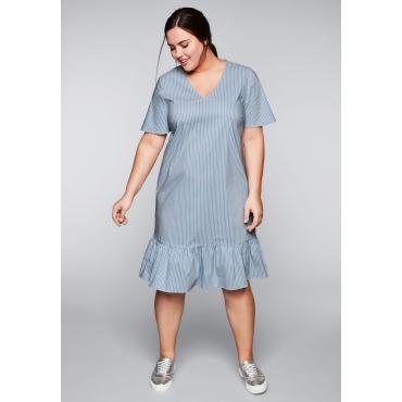 Große Größen: Kleid mit Volants und Streifen, hellblau-weiß, Gr.44-58