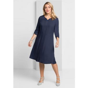 Große Größen: Kleid mit weit schwingendem Rockteil, marine, Gr.40-58