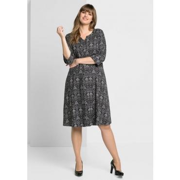 Große Größen: Kleid mit weit schwingendem Rockteil, schwarz bedruckt, Gr.40-58