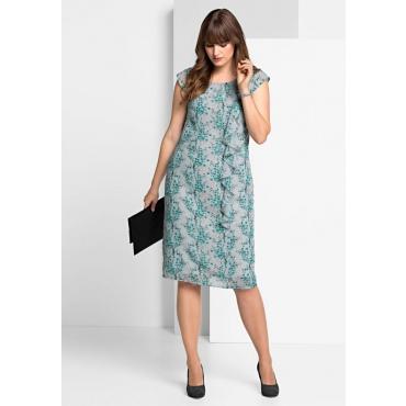 Große Größen: Kleid mit zartem Alloverdruck, lichtgrau bedruckt, Gr.40-58