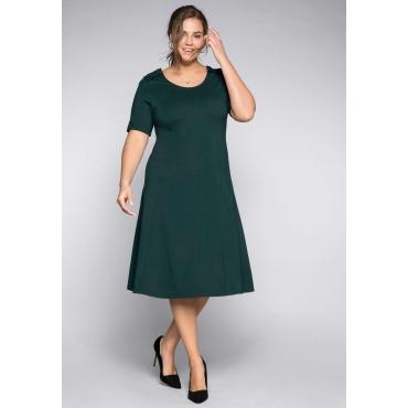 Große Größen: Jerseykleid mit Rüschendetails und Wiener Nähten, tiefgrün, Gr.44-58