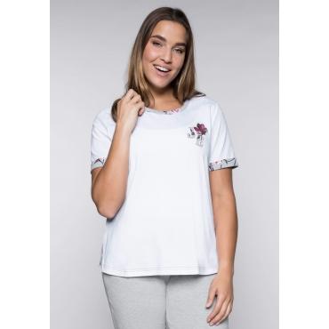 Große Größen: Kurzarmshirt mit Stickerei, weiß, Gr.44/46-56/58