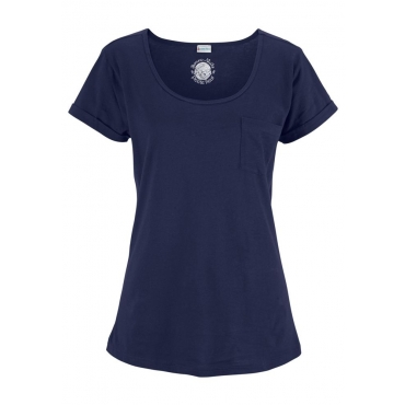 Große Größen: Petite Fleur Basic Kurzarmshirt »Paradise« mit Brusttasche, dunkelblau, Gr.40/42-56/58