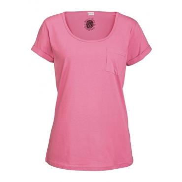 Große Größen: Petite Fleur Basic Kurzarmshirt »Paradise« mit Brusttasche, himbeere, Gr.40/42-56/58