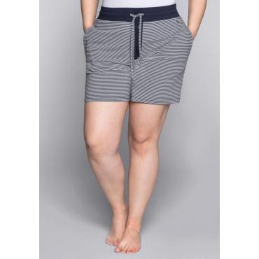Große Größen: Kurze Schlafanzughose mit Zierknopfleiste, marine-weiß, Gr.44-58