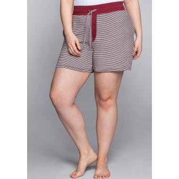 Große Größen: Kurze Schlafanzughose mit Zierknopfleiste, rot-weiß, Gr.44-58