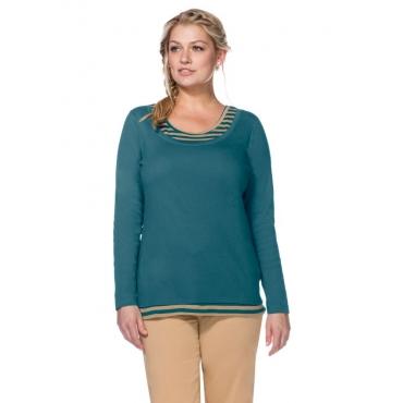 Große Größen: Langarmshirt in 2-in-1-Optik, petrol-beigefarben, Gr.40/42-56/58