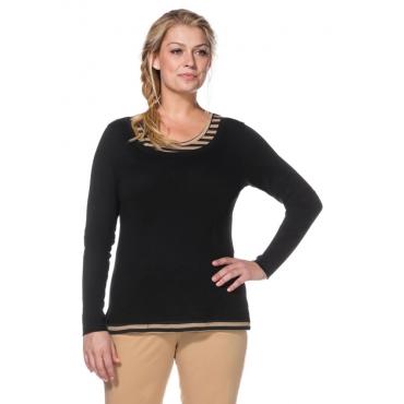 Große Größen: Langarmshirt in 2-in-1-Optik, schwarz-beigefarben, Gr.40/42-56/58