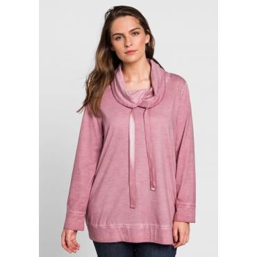 Große Größen: Langarmshirt in Oil-washed-Optik, rosa, Gr.44/46-56/58