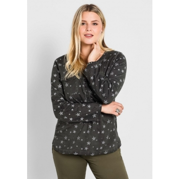 Große Größen: Langarmshirt in Oil-washed-Optik, schwarz, Gr.40/42-56/58