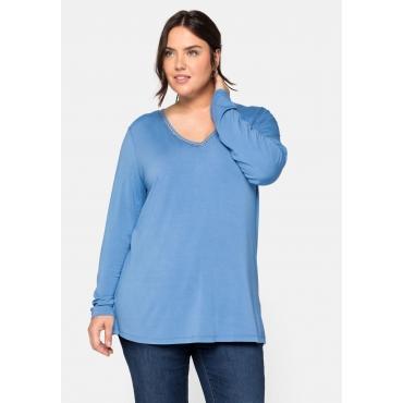 Langarmshirt mit Effektgarn, aus ECOVERO™, jeansblau, Gr.44/46-56/58