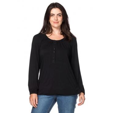 Große Größen: Langarmshirt mit Knopfleiste, schwarz, Gr.40/42-56/58
