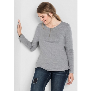 Große Größen: Langarmshirt mit Reißverschluss, hellgrau meliert, Gr.40/42-56/58
