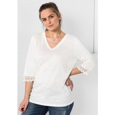 Große Größen: Shirt mit Spitze, offwhite, Gr.44/46-56/58