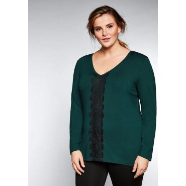 Große Größen: Langarmshirt mit Spitzendetail, tiefgrün, Gr.44/46-56/58