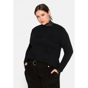 Langarmshirt mit Stehkragen aus Spitze, Baumwolle, schwarz, Gr.44/46-56/58