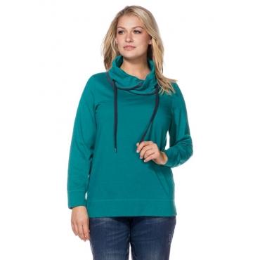 Große Größen: Sweatshirt mit weitem Kragen, azurgrün meliert, Gr.40/42-56/58
