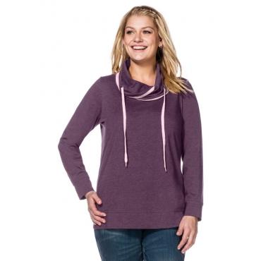 Große Größen: Sweatshirt mit weitem Kragen, dunkellila meliert, Gr.40/42-56/58