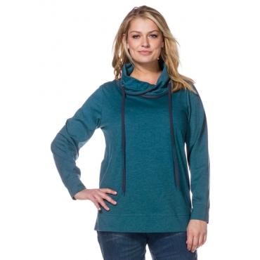 Große Größen: Sweatshirt mit weitem Kragen, petrol meliert, Gr.40/42-56/58