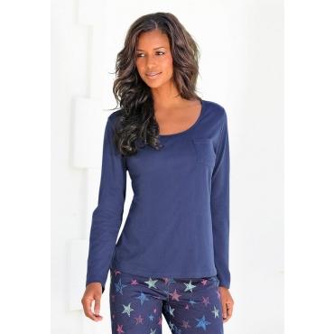 Große Größen: Petite Fleur Basic Langarmshirt »Paradise« mit Brusttasche, dunkelblau, Gr.40/42-56/58