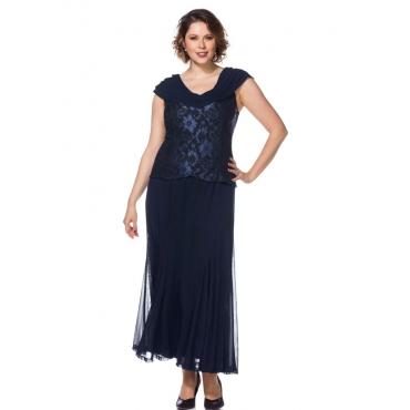 Große Größen: Abendkleid mit Spitze, blau, Gr.21-104