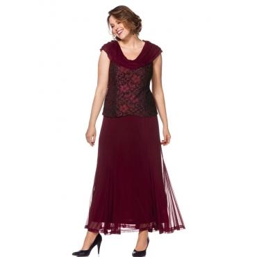 Große Größen: Abendkleid mit Spitze, bordeaux, Gr.21-104