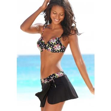Große Größen: LASCANA Baderock mit integrierter Bikinihose im Floraldesign, schwarz bedruckt, Gr.40-50
