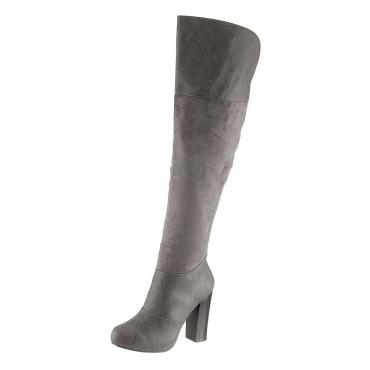 Große Größen: Laura Scott High Heel Stiefel mit legerem Schaft, grau, Gr.36-41