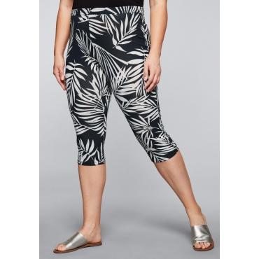 Leggings in kniebedeckender Capri-Länge, schwarz-weiß, Gr.44-58