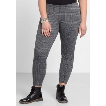 Große Größen: Leggings mit Glencheck-Muster, schwarz-grau, Gr.44-58