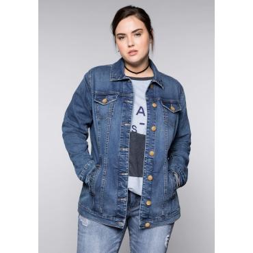 Große Größen: Long-Jeansjacke im Used-Look, blue used Denim, Gr.44-58
