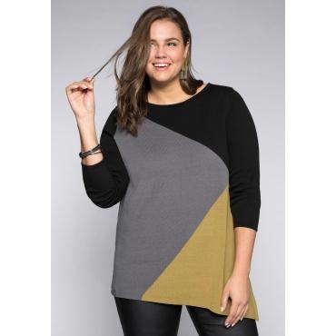 Große Größen: Longpullover im Colorblocking-Design, schwarz-grau, Gr.44/46-56/58