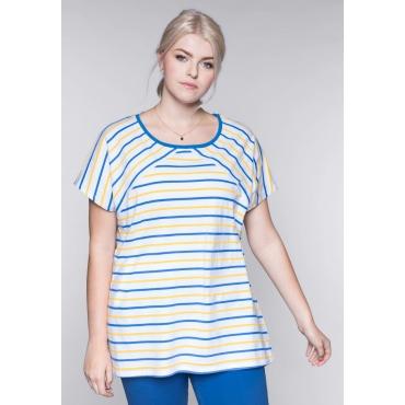 Longshirt im Ringeldesign mit rundem Ausschnitt, gelb-weiß, Gr.44/46-56/58